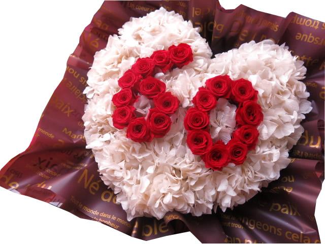 古希祝い 花 数字入り ハート プリザーブドフラワー あなたのご希望の数字(2ケタ)お作り致します