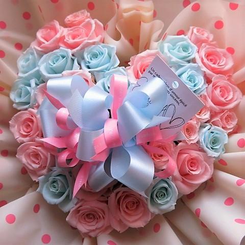 人気 ハート 花束風 ギフト ピンク 水色 バラ使用 プリザーブドフラワー ハートブーケ
