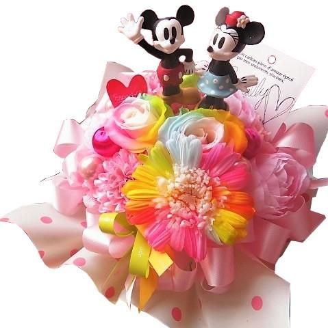 結婚祝い ミッキー ミニー入り 花 レインボーローズ2 レインボーガーベラ1 プリザーブドフラワー入り ミッキー ミニー ノーマル ケース付き
