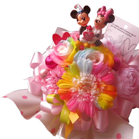 誕生日プレゼント ミッキー ミニー入り 花 レインボーローズ2 レインボーガーベラ1 プリザーブドフラワー入り バースデーA ケース付き
