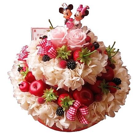 誕生日プレゼント 花 ディズニー フラワーケーキ フラワーギフト プリザーブドフラワー 7号ケーキ バースデーA ミッキー ミニー