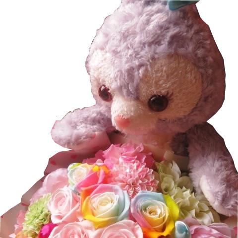 ステラ・ルー 花束風 ぬいぐるみがお花を抱えた サプライズ ステラ・ルー カラフル レインボーローズ プリザーブドフラワー入り 大切なあの人を笑顔にしちゃう魔法のフラワーギフト
