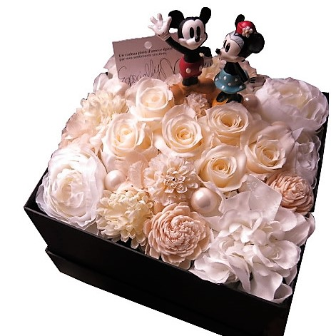 ミッキー ミニー入り 花 フラワーギフト ミッキー ミニー入り 箱開けてスマイル ボックス入り 白バラ プリザーブドフラワー