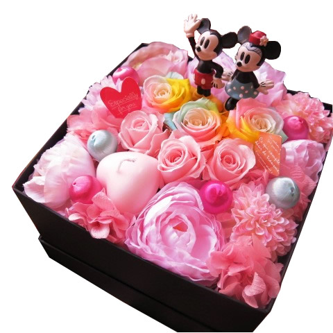 ディズニー ミッキー ミニー入り 花束風 箱を開けてサプライズ ボックス レインボーローズ プリザーブドフラワー入り ノーマル ミッキーマウス ミニーマウス