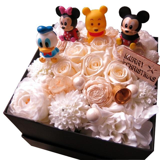 ミッキー ミニー...etc入り 花 フラワーギフト ミッキー ミニー...etc入り 箱開けてスマイル ボックス入り 白バラ プリザーブドフラワー キャラクター種類はおまかせ4個入り