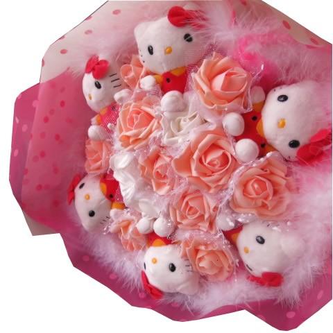 母の日 キティ 花束 フラワーギフト キティ6個 いっぱい入り キティ ブーケ プレゼント フラワーギフト