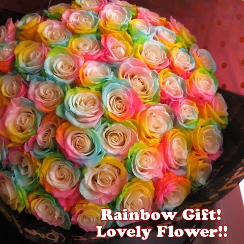 レインボーローズ プリザーブドフラワー 花束 50本使用 大輪系(花サイズ5cm~6cm)