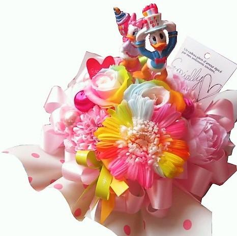 誕生日プレゼント ドナルド デージー入り 花 レインボーローズ2 レインボーガーベラ1 プリザーブドフラワー入り バースデーB ケース付き