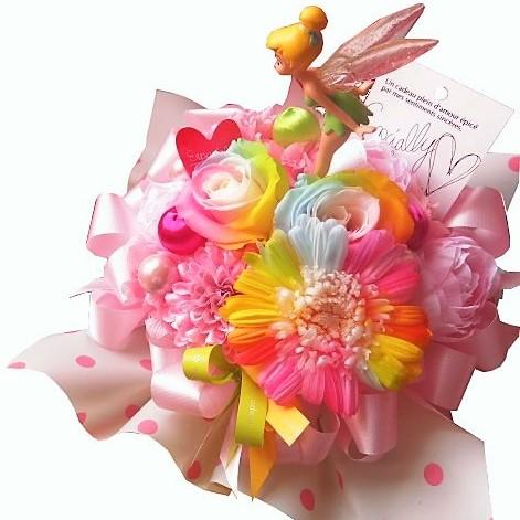 誕生日プレゼント ティンカーベル入り 花 レインボーローズ2 レインボーガーベラ1 プリザーブドフラワー入り ケース付き