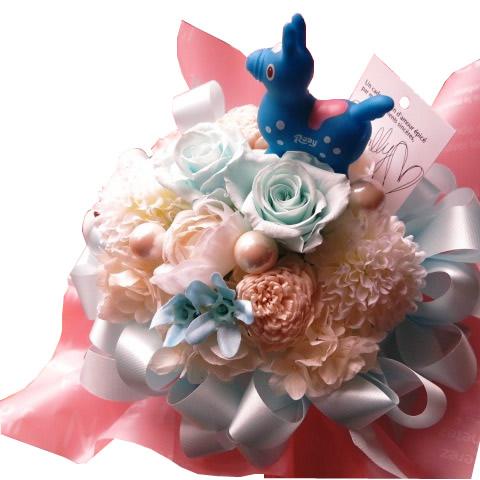 誕生日プレゼント ロディ入り 花 水色バラ プリザーブドフラワー ケース付き ◆誕生日プレゼント 記念日の贈り物におすすめのフラワーギフト