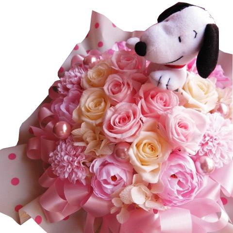 誕生日プレゼント スヌーピー入り 花 ピンク&ホワイト プリザーブドフラワー ◆スヌーピーカラーはおまかせ♪