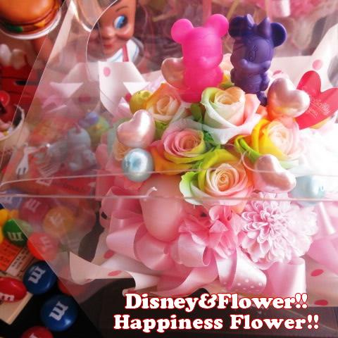 誕生日プレゼント ミッキー ミニー 花 マスコット フラワーギフト レインボーローズ プリザーブドフラワー ミッキー ミニー ノーマル ケース付き