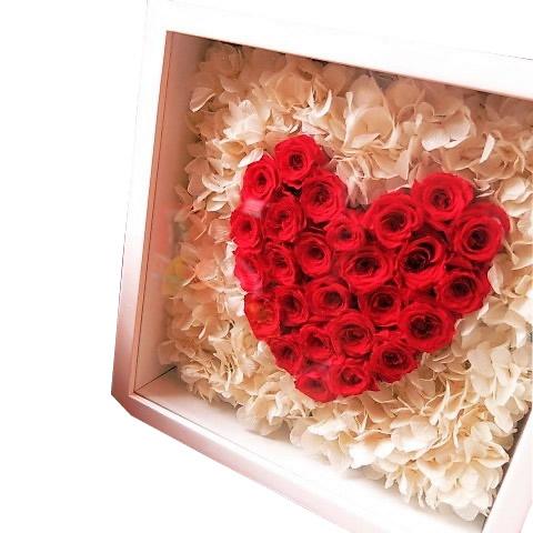 ハート 花 プリザーブドフラワー 壁掛け【L】◆結婚祝いプレゼント・記念日の贈り物におすすめのフラワーギフト