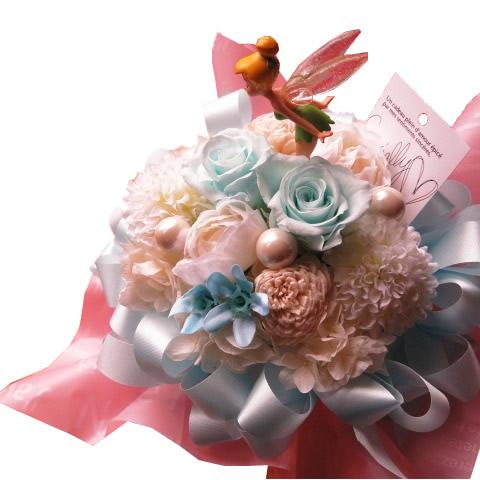 誕生日プレゼント ティンカーベル入り 花束風 水色バラ プリザーブドフラワー入りギフト ケース付き ◆誕生日プレゼント 記念日の贈り物におすすめのフラワーギフト
