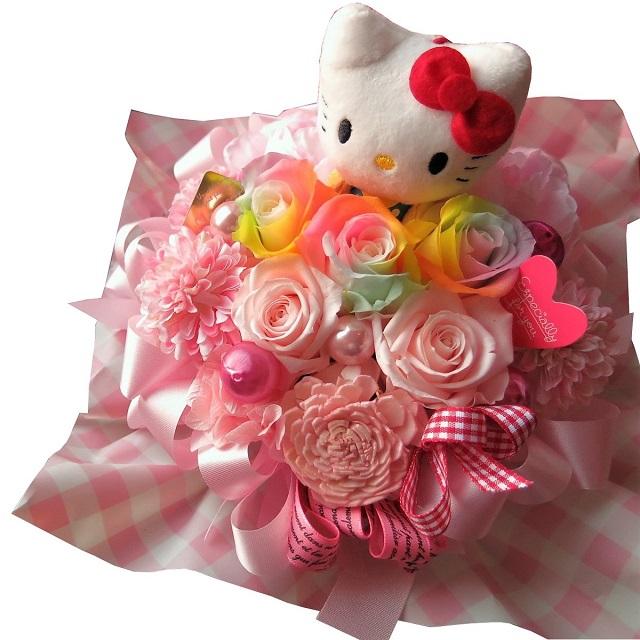 結婚祝い キティ ぬいぐるみ 花束風 レインボーローズ プリザーブドフラワー入り ケース付き ◆誕生日プレゼント・記念日の贈り物におすすめのフラワーギフト
