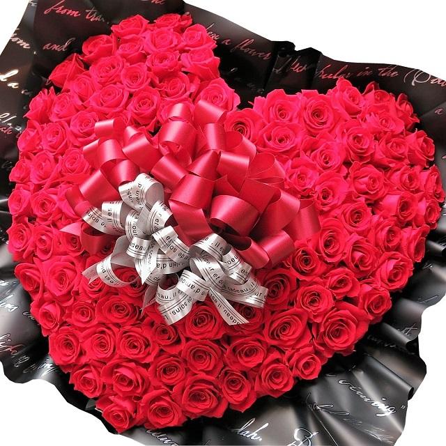プロポーズ 赤バラ 100本 花束風 ハート プリザーブドフラワー 赤バラ 100輪使用 ハート フラワーギフト プロポーズ 記念日ギフト サプライズ