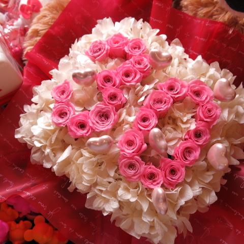 記念日 数字 花 フラワーギフト ピンク数字 ご希望数字入りプリザーブドフラワー ハートピック入り あなたのご希望の数字(2ケタ)お作り致します ◆誕生日プレゼント・記念日の贈り物におすすめのフラワーギフト