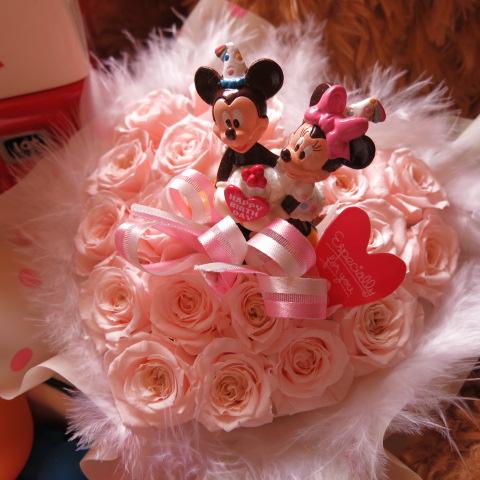 誕生日プレゼント ディズニー ハート フラワーギフト ミッキー ミニー バースデーA クリアーケース付き ハート プリザーブドフラワー