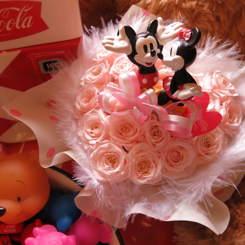 ホワイトデー お返し 花 ディズニー ハート フラワーギフト ミッキー ミニー ノーマル クリアーケース付き ハート プリザーブドフラワー