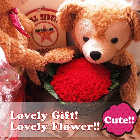 プロポーズ ダッフィー付き 特大 ぬいぐるみ 100cm プリザーブドフラワー 花束 赤バラ100本 大きなダッフィーがお花を抱えた サプライズギフト