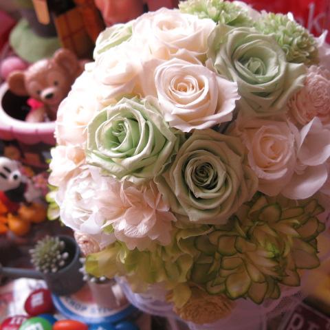 プリザーブドフラワー ブーケ アートフラワー系使用 結婚式 ブーケ