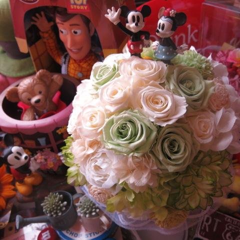 ディズニー 結婚式 ミッキー ミニー入り プリザーブドフラワー ブーケ アートフラワー系使用 結婚式 ブーケ