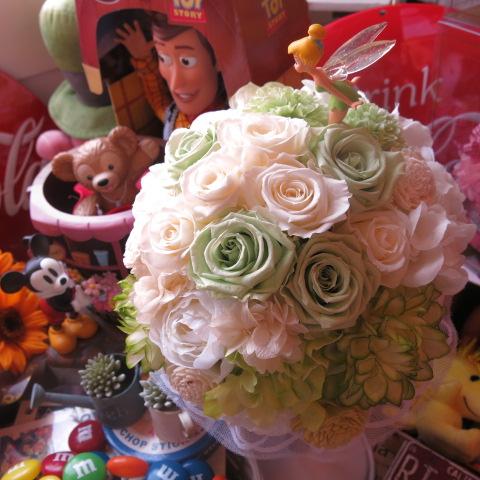 ディズニー 結婚式 ティンカーベル入り プリザーブドフラワー ブーケ アートフラワー系使用 結婚式 ブーケ