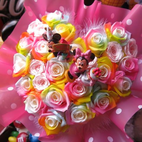 ディズニー ハート フラワーギフト レインボーローズ プリザーブドフラワー ミッキーミニー バースデーB ケース付き 誕生日プレゼント・記念日の贈り物におすすめのフラワーギフト