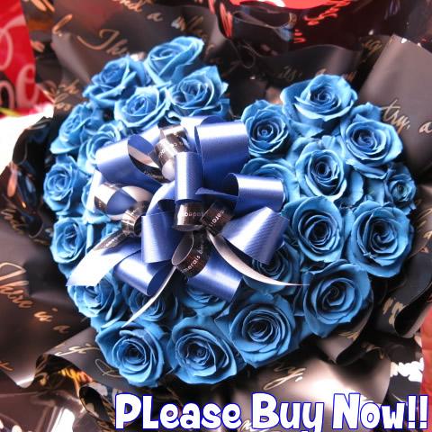 青バラ 花束風 プリザーブドフラワー フラワーギフト ハート プリザーブドフラワー ◆誕生日プレゼント・記念日のギフトにピッタリ♪ご希望日にプレセント先にお届け可能です