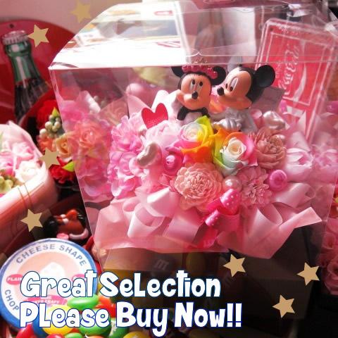 誕生日プレゼント ミッキー ミニー入り 花 レインボーローズ プリザーブドフラワー入りギフト ドレスフギュア ケース付き ミッキーマウス ミニーマウス