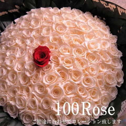 バラ 100本 プリザーブドフラワー 1本白バラ 花束 赤バラ99本使用 プリザーブドフラワー 花束 枯れずにいつまでもキレイな赤バラ ◆プロポーズ・プレゼント・記念日の贈り物におすすめのフラワーギフト