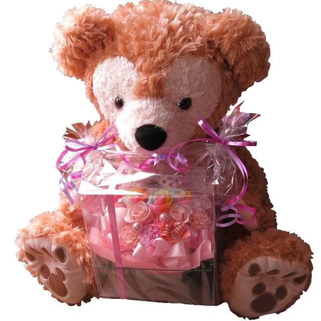 母の日 ダッフィー ぬいぐるみ 花束風 大きなダッフィーがお花を抱えた サプライズ ダッフィー&シェリーメイ レインボーローズ プリザーブドフラワー入り