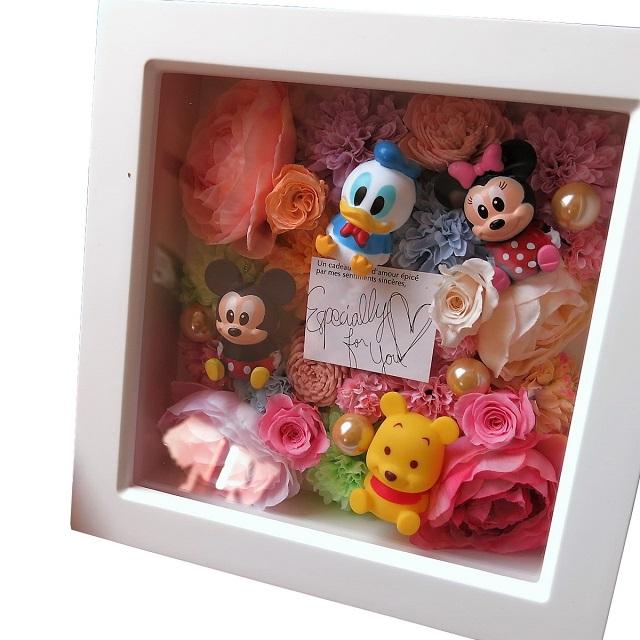 誕生日プレゼント ミッキー ミニー マスコット入り 花 プリザーブドフラワー入り 壁掛け カラフルフラワー ミッキー ミニー+おまかせキャラクター計4個入り