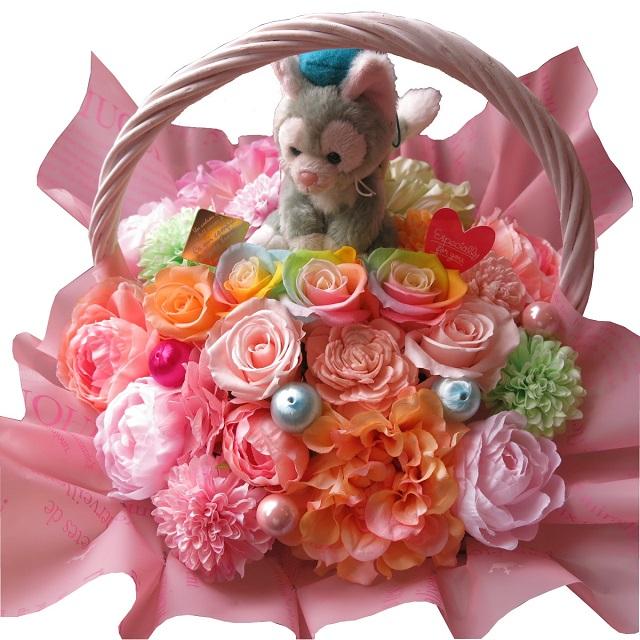 誕生日プレゼント ジェラトーニ ぬいぐるみ 花束風 レインボーローズ プリザーブドフラワー入りギフト キャンディーカラー プリザーブドフラワー
