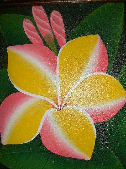 バリ島より直輸入 上等 鮮やかな色使いでトロピカルムード満点 定形外郵便送料無料 バリ絵画 プルメリア LG573 モデル着用 注目アイテム FLOWER イエローピンク BALI