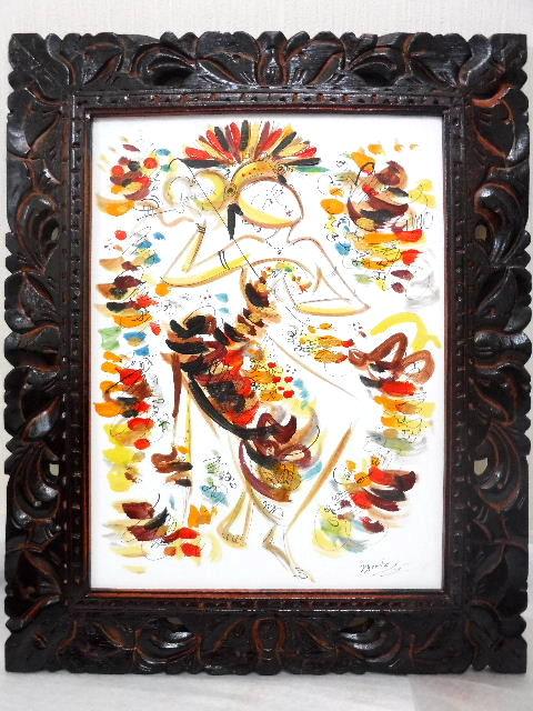 バリ島より直輸入 新着セール 贈答品 鮮やかな色使いでトロピカルムード満点 送料無料 バリ絵画 バリニーズ 透かし彫りフレーム イエロー BALI 40x30cm LG608