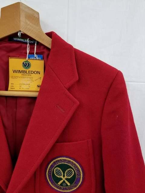 WIMBLEDON RENOWN レッド ウール ジャケット エンブレム ブレザー 2つボタン Mサイズ メンズ 古着 トップス Z-7