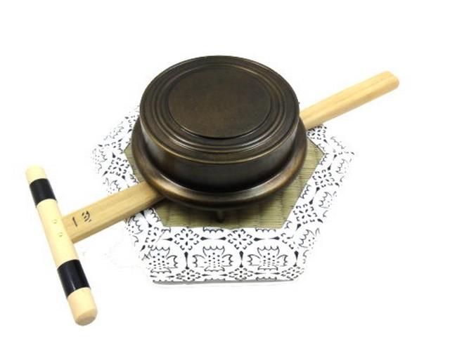 [仏具] 鉦吾(伏鉦) 鍋長色 4.0寸 【一心撞木、六角畳セット】