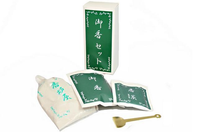 送料込 御香 香炉灰 香炭 灰ならしのセットです 廻し香炉にお使いください 〔焼香用〕 仏具 御香セット 日本正規代理店品