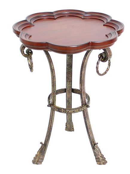 輸入家具 サイドテーブル コーヒーテーブル アイアン 木製 ランプテーブル フラワー 花 ライオン アンティーク シャビーシック FM-138