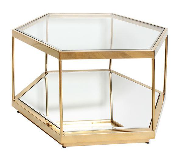 輸入家具 サイドテーブル 6角形 ゴールド スチール リビングスタジオ 直輸入 モダン アンティーク シンプル ミラー ガラス EH-493 送料無料