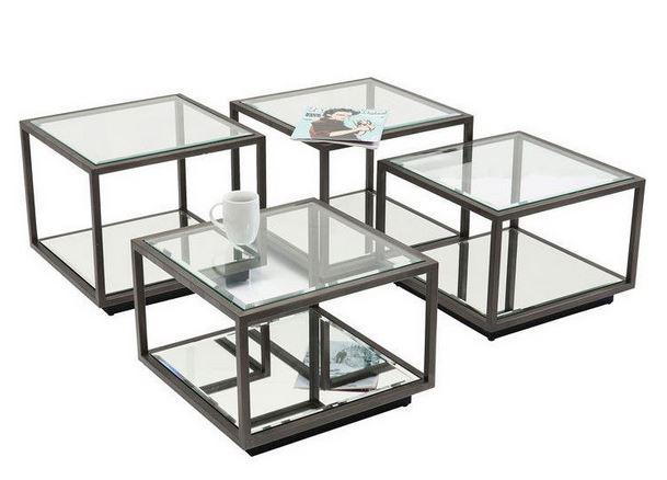 輸入家具 サイドテーブル 4台セットアイアン ブロンズ色 リビングスタジオ 直輸入 モダン アンティーク シンプル ガラス EH-364 送料無料