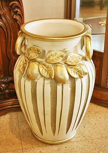 イタリア製 輸入雑貨 傘立て ざくろ 陶器 アイボリー リビングスタジオ 直輸入 アンティーク シャビー Ilponte イルポンテ 25045W 送料無料