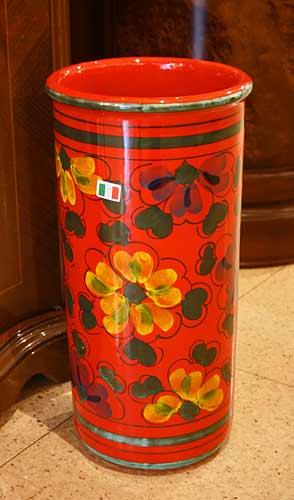イタリア製 輸入雑貨 傘立て 赤 花柄 陶器 Ilponte イルポンテ リビングスタジオ 直輸入 トスカーナ 手描き ストレート 送料無料 961103