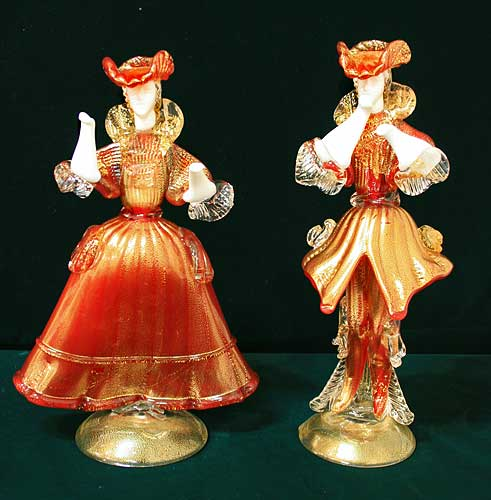 イタリア製 輸入雑貨 ベネチアングラス ペア人形 置物 赤 ゴールド リビングスタジオ 直輸入 ヴェネチアン Murano ムラノガラス 一点物