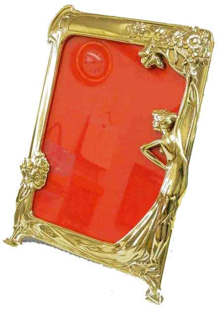 イタリア製 輸入雑貨 フォトフレーム 真鍮 リビングスタジオ 直輸入 ブラス アールヌーボー 写真立て 女性 スティーラ 姫系 C3-56 送料無料