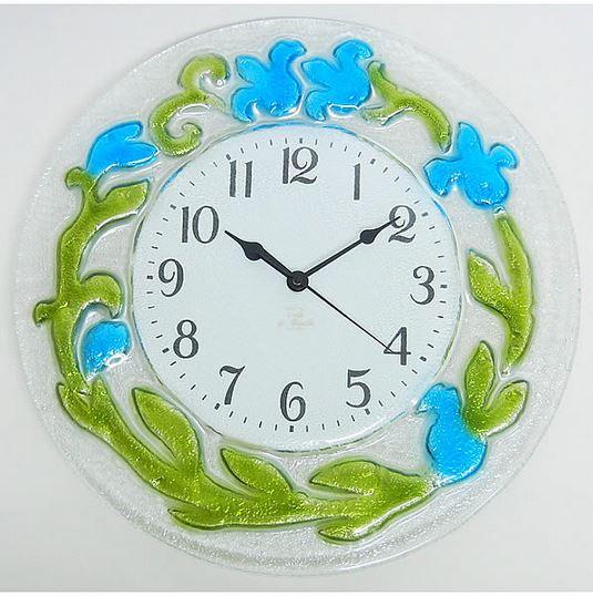 イタリア製 輸入雑貨 時計 ガラス フラワー ブルー 円形 リビングスタジオ 直輸入 エレガント モダン クラシック 姫系 1518B 送料無料