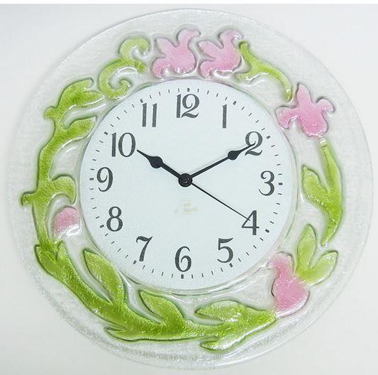 イタリア製 輸入雑貨 時計 ガラス フラワー ピンク 円形 リビングスタジオ 直輸入 エレガント モダン クラシック 姫系 1518P 送料無料