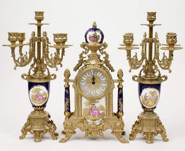 超歓迎された イタリア 時計 キャンドルスタンド セット 真鍮 磁器 リビングスタジオ バロック ロココ 全国送料無料 直輸入 輸入雑貨 425TBG 買物 貴族柄 Olympus ブルー イタリア製