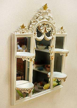 イタリア製 輸入雑貨 ミラーコンソール 飾り棚 ロココ アイボリー リビングスタジオ 直輸入 ISA イサス 鏡 シェルフ アンティーク c510 送料無料
